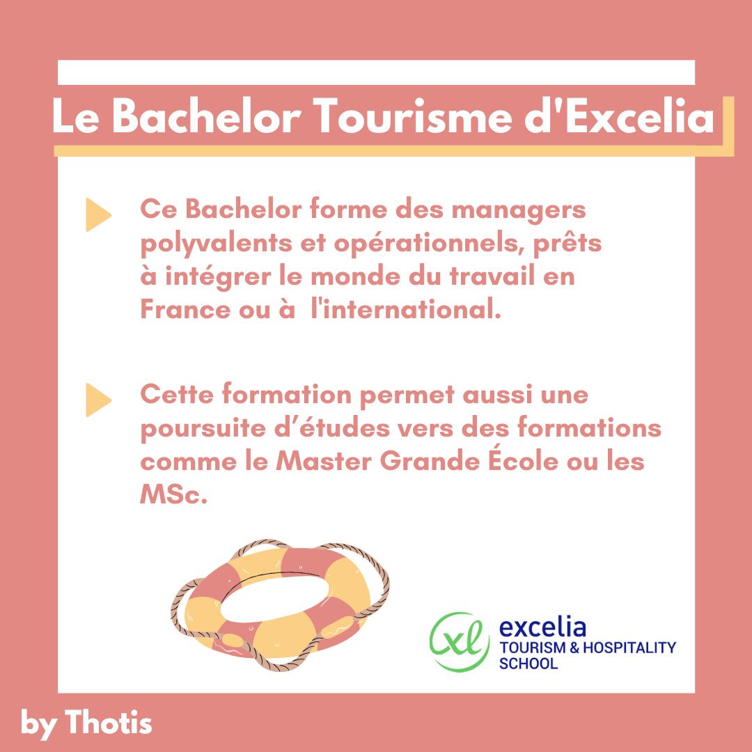 Poursuite d'études du Bachelor Tourisme d'Excelia