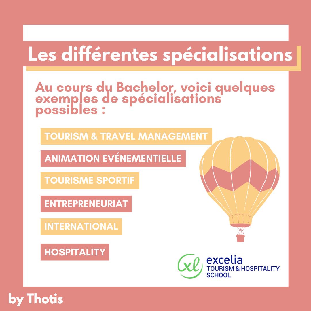 Les spécialisations du Bachelor Tourisme d'Excelia