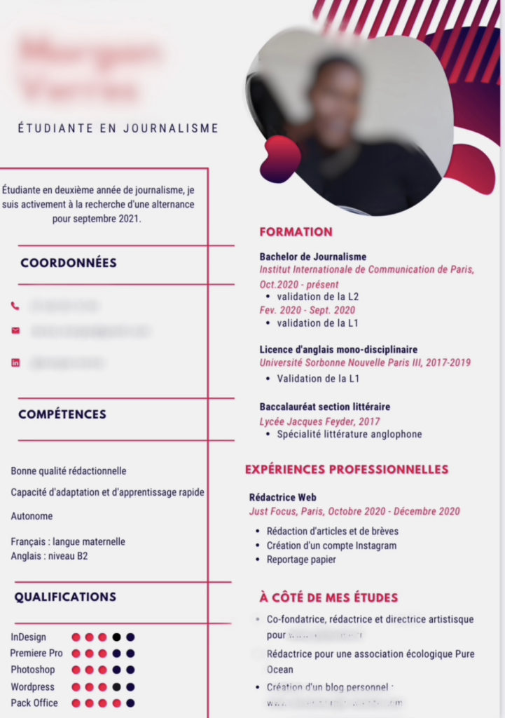 Exemple de CV pour une recherche d'alternance ou de stage